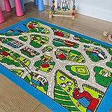Champion Rugs Kids/Baby Room/Daycare/Classroom/Playroom Area Rug. Roads. Town. City. Race Car Tracks. Educational. Fun. Non-Slip Gel Back. Play Mat (8 Feet x 10 Feet)