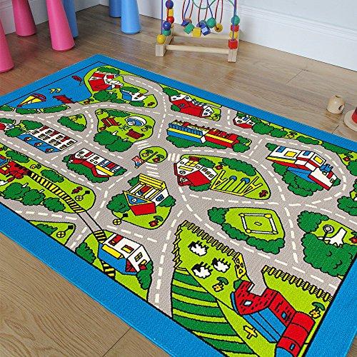 Pro Rugs Children's Play Village Mat Town City Roads Rug (8 Feet X 10 Feet)