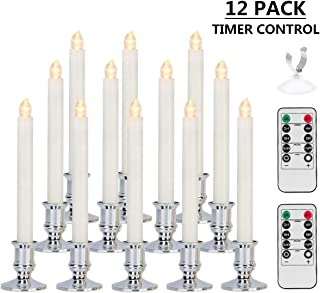 Window Candles, MAOYUE Battery Powered Window Candles Lights Flameless Taper Candles Warm White Candles with 2 Remote Control, Timer, Removable Silver Holder, Suction Cup-12 Pack Christmas Decorations