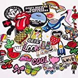 Butie.42pcs Embroidered Patch Sew On/Iron On Patches Applique Accessories Assorted Size Decoration Patches for DIY Jeans Jacket Clothing Handbag Shoes Caps (42PCS-RF-36)