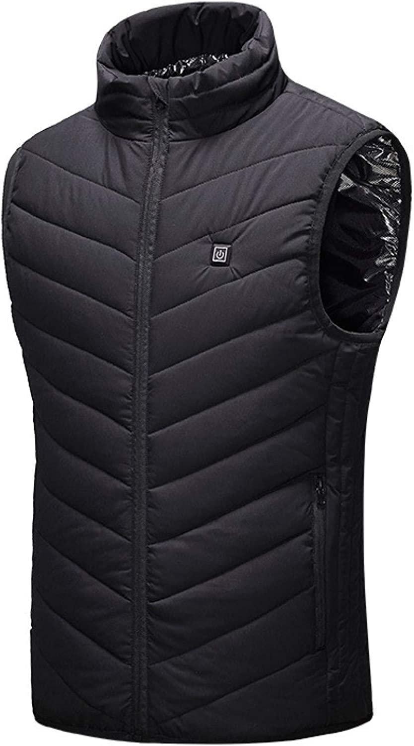 Men's Winter Quilted Puffer Vest With Zipper Pockets Waistcoat Polyester Outdoor Insulated Lightweight Gilets for Sports