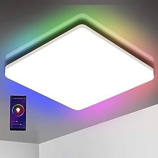 comprar comparacion Oeegoo Wifi Smart Lámpara LED de techo, control de aplicación, control por voz (Alexa, Google Assistant), 15W IP54, cambio...