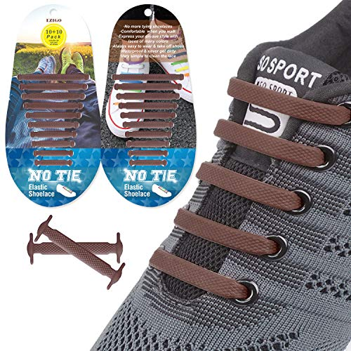 EZIGO 10+10 No Tie Shoelaces Upgraded Elastic Shoelaces for Adults/Kids Tieless Elastic Shoe Laces Waterproof Rubber Shoelaces for Sneakers Boots and Casual Shoes 20 Shoelaces Brown