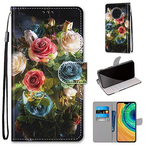 Miagon Flip PU Leder Schutzhülle für Huawei Mate 30 Pro,Bunt Muster Hülle Brieftasche Case Cover Ständer mit Kartenfächer Trageschlaufe,Blühen Blume