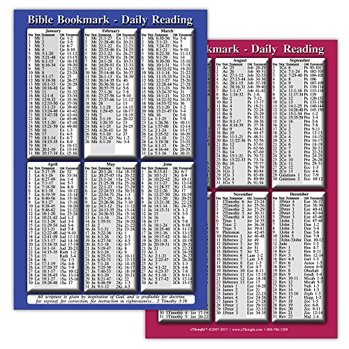 eThought Daily Bible Study Bookmark and Reading Guide - Read The Bible in a Year, Devotional Companion, Gifts for Believers and Scripture Seekers, Pack of 25 (BB-DRYR-25)