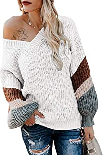 Byinns Women's Oversized Sweater Off Shoulder Pullover Sweater Knit V Neck Batwing Striped Chunky Loose fit Jumper Tops