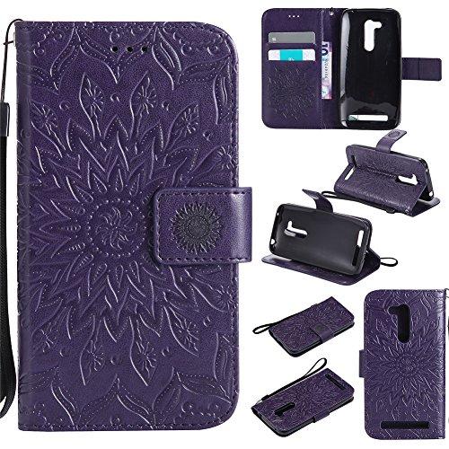 Nancen Compatible with Handyhülle Asus Zenfone GO ZB452KG Hülle,Asus Zenfone GO ZB452KG (4,5 Zoll) Leder Wallet Tasche Brieftasche Schutzhülle, Nancen Prägung Sonnenblume Muster