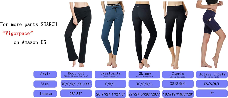 VIGORPACE,2 Back Pockets,29//31//33//35//37 Women/'s Bootcut Yoga Pants,Petite//Regular//Tall Length,with Inner Hidden Pocket