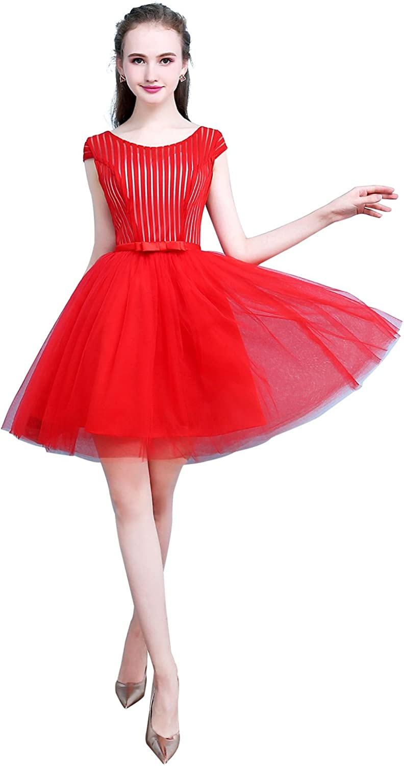 Epinkbridal Women's Red Stripe Open Back Cocktail Prom Evening Dress with Bow Tie A Line Party Gowns