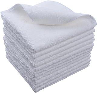 SINLAND マイクロファイバー クリーニングクロス 業務用タオル キッチン 掃除 洗車 吸水 速乾 クロス 12枚入 白い