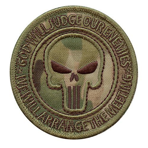 2AFTER1 God Will Judge Our Enemies Multicam US Navy Seals DEVGRU Punisher Morale Touch Fastener Patch