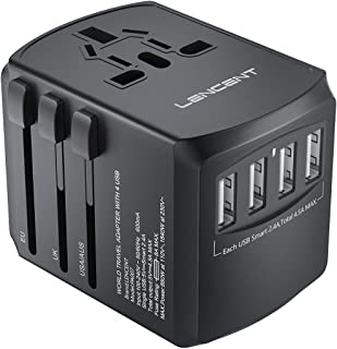 LENCENT® Universal Power Travel Adaptor with UK/USA/EU/AUS Worldwide Travel Charger Plug, 4 USB Charging Ports International Wall Adapter & Universal AC Socket for Travelling over 200 countries, Safety Fused