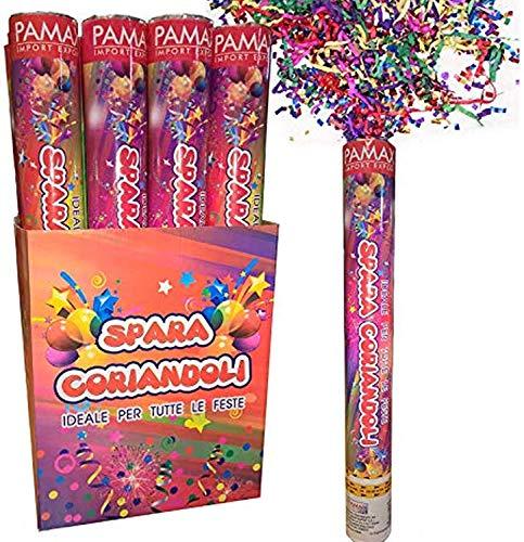 CONF. 12 pz. Tubo Cannone Sparacoriandoli COLORATI Compleanno Festa Party 40 cm