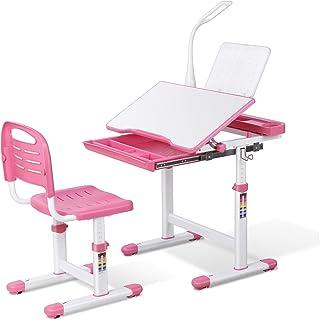 Bamny Bureau Enfant, Bureau Ergonomique avec Chaise, Tiroir et Tableau de Lecture, Table Bureau Enfant avec Lampe LED Dimm...