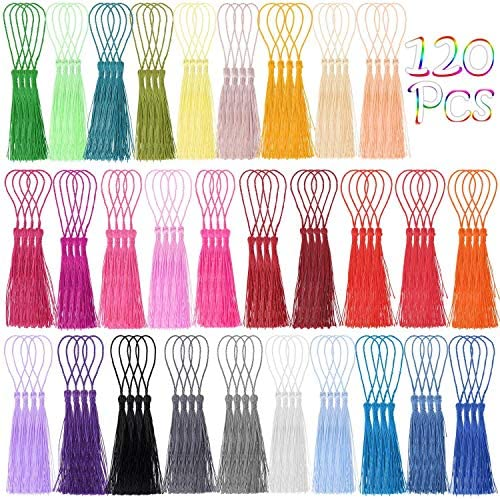 Tassels Cridoz 120Pcs Bookmark Tassels Silky Handmade Soft Craft Mini Tassels with Loops for product image