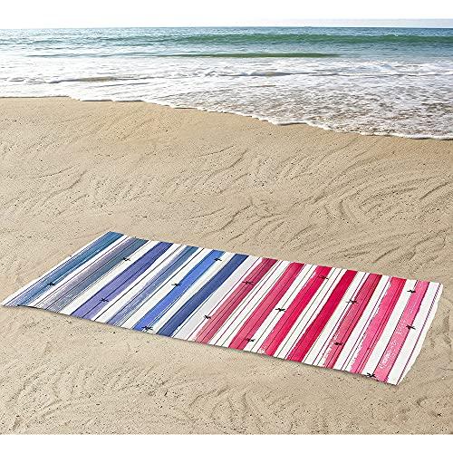 Himlaya Beach Towel Quick Drying Microfibre, 3D Extra Large Bath Towel Absorbent Sand Free Light Weight Stripe Printing Bathrobe for Swim Travel Sport Vacation Sunbeds (Stripe E,70x150cm)