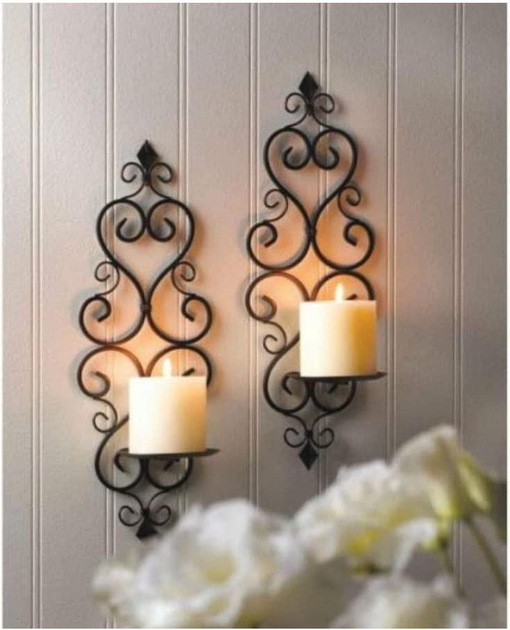 2 Scrollwork Mail order cheap Sconce Candle Holder - Decor Indefinitely Set Wall