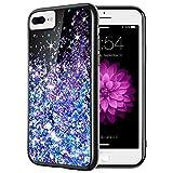 Caka iPhone 7 Plus Case, iPhone 8 Plus Glitter Case for Women Girls Bling Flowing Floating Liquid Sparkle TPU Black Case for iPhone 6 Plus 6S Plus 7 Plus 8 Plus (5.5 inch) (Blue Purple)
