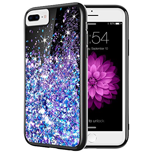 Caka iPhone 7 Plus Case, iPhone 8 Plus Glitter Case Bling Flowing Floating Luxury Liquid Sparkle Soft TPU Glitter Black Case for iPhone 6 Plus 6S Plus 7 Plus 8 Plus (5.5 inch) (Blue Purple)