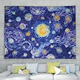 Lisdwde Moon Tapestry for Bedroom Aesthetic Trippy Oil Painting Starry Night Wall Hanging Hippie Van Gogh Art Stars Galaxy Decor Beach Blanket(Medium - 51.2 x 59.1 inches)