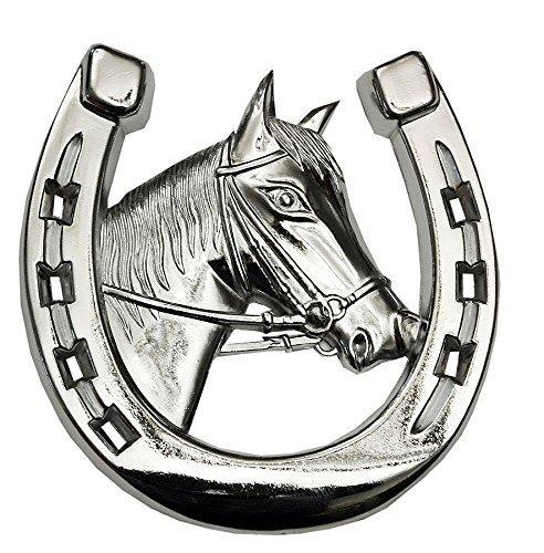 Autohoefijzer met paardenkop | Autosierhoefijzer | Autodecoratie | Koelerfiguur | Paard hoefijzer chroom | auto grilldecoratie