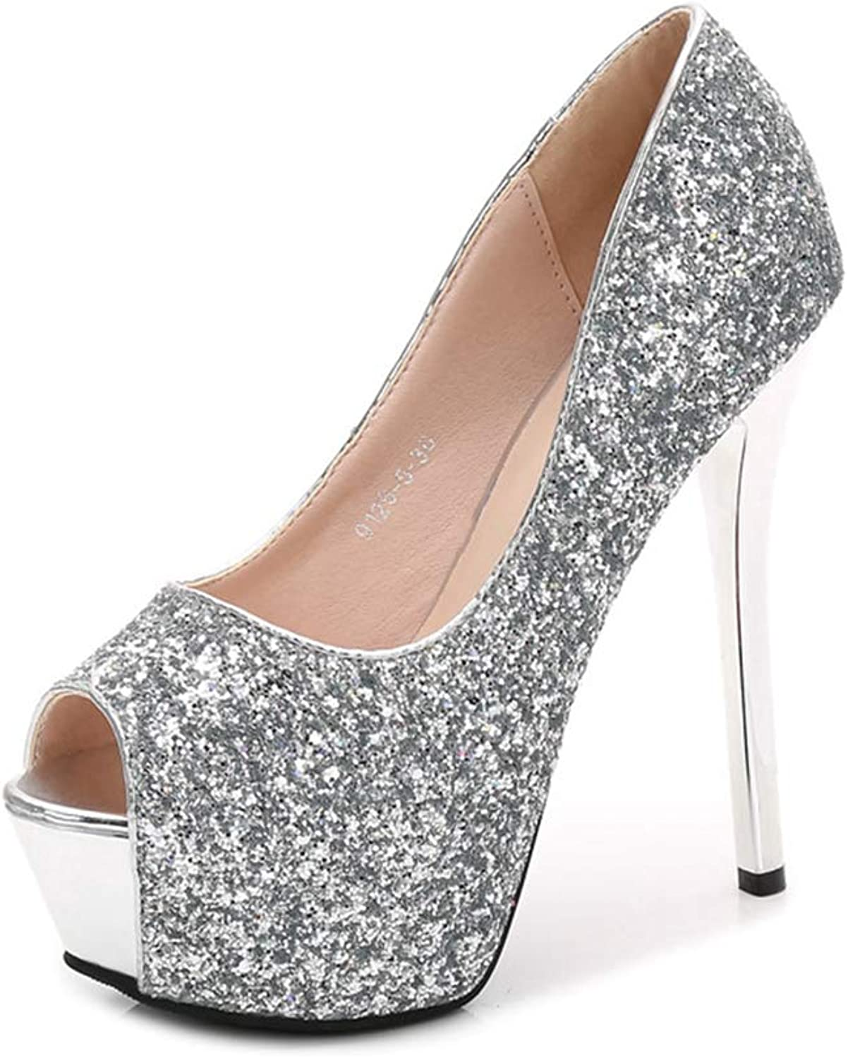 Sam Carle Womens Pumps,Super High Heel Fish Mouth Bling Sequined Rhinestone Nightclub Pump