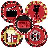 Adorebynat Party Decorations - EU Noche de película de la etiqueta engomada - Película Teatro del partido Suministros de Decoración - Set 50
