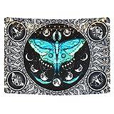 Yugarlibi Mondphasen Wandteppich, Psychedelic Schwarz Mandala Blaugrün Schmetterling Wandtuch, Mysteriöse Sternenhimmel Wandbehänge Wandtücher, 130 x 150 cm