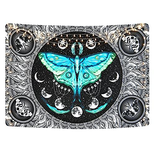 Yugarlibi - Tapiz de pared con fases de la luna, psicodélico, color negro, mandala, verde azulado, mariposa, misterioso, cielo estrellado, 150 x 210 cm