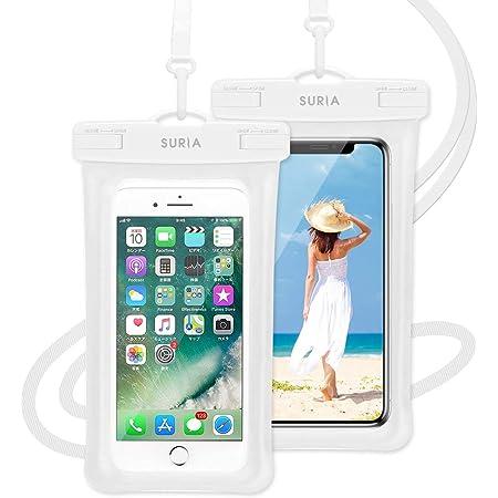【最新版 & 指紋認証/Face ID認証対応】 防水ケース スマホ用 ( 2枚セット ) IPX8認定 完全保護 防水携帯ケース 完全防水 タッチ可 顔認証 気密性抜群 iPhone11/iPhoneXR/X/8/8plus/Android 6.5インチ以下全機種対応 防水カバー 水中撮影 お風呂 海水浴 水泳など適用(ホワイト)