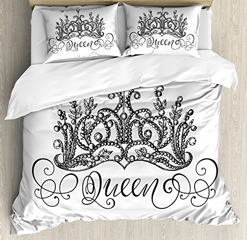 Ambesonne Queen Duvet Cover Set, Hand Drawn Crown with Queen Lettering Baroque Style Elements Calligraphy, Decorative 3 Piece Bedding Set with 2 Pillow Shams, Queen Size, Black White