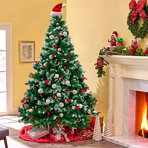 sunseen 7FT Christmas Tree Pre-lit Artificial Christmas Tree Fiber Optic Christmas Tree Fake Christmas Tree with LED Light for Xmas Indoor Decor (7ft)