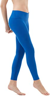 TSLA Yoga Pants Mid-Waist Leggings w Hidden Pocket FYP51/FYP41, Womens, Z25-TM-FYP51-BLU, Small
