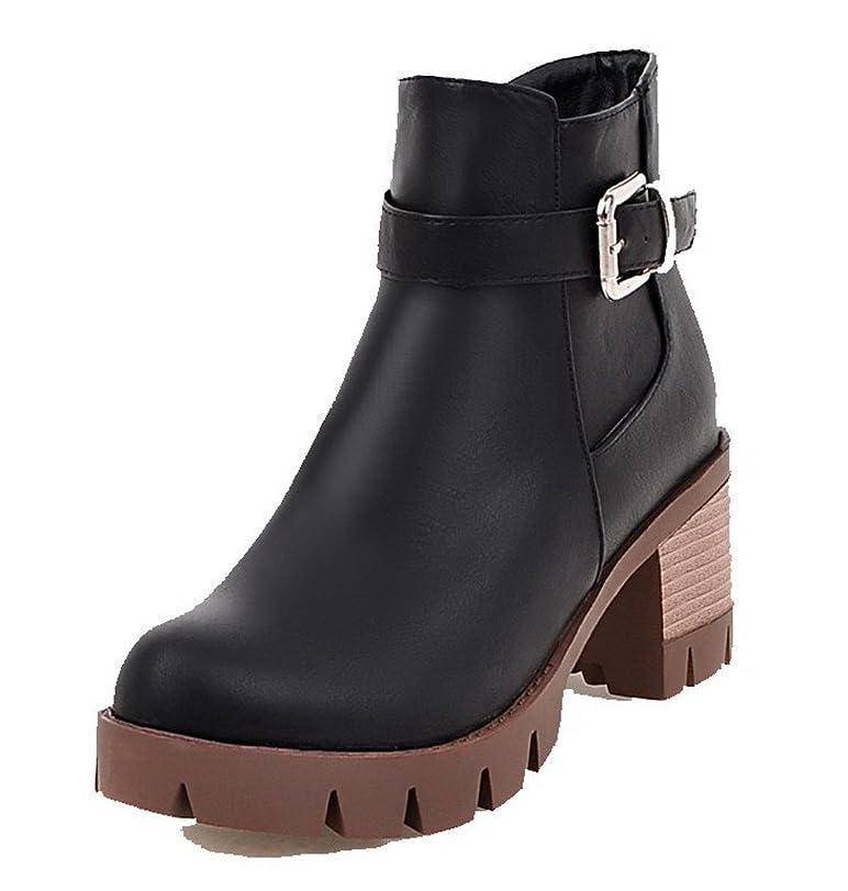 慈悲無知乳白(オールエイチキューファッション) AllhqFashion レディース PUの皮 ラウンドトゥ 中ヒール ジッパー 純色 ブーツ 24.5cm ブラック