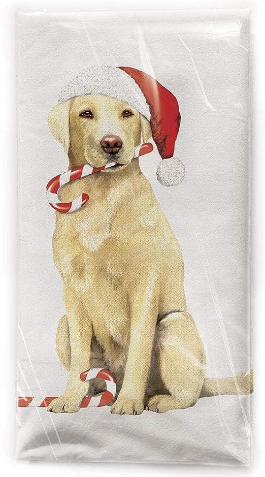 Mary Lake Thompson Yellow Lab Christmas Dog Flour Sack Dish Towel Home Kitchen