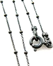 Oxidized Sterling Silver Beaded Ball Necklace Chain, Beaded Cable Chain Necklace