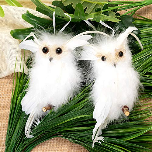 "LONGBLE Cute Hanging Mini Owl Christmas Tree Topper Ornament for Home Party Winter Holiday Xmas Day Decor (6.3""-2 pcs Owls)"