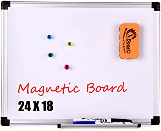 XBoard Magnetic Whiteboard/Dry Erase Board, 24 x 18 Inch Double Sided White Board with 1 Detachable Marker Tray, 1 Dry Eraser, 3 Dry Erase Markers and 4 Magnets for Home, Office and School