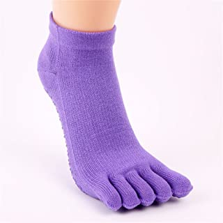 Five-Finger Cotton Silicone Rubber Pure Color for Women Yoga Socks,Fully Breathable
