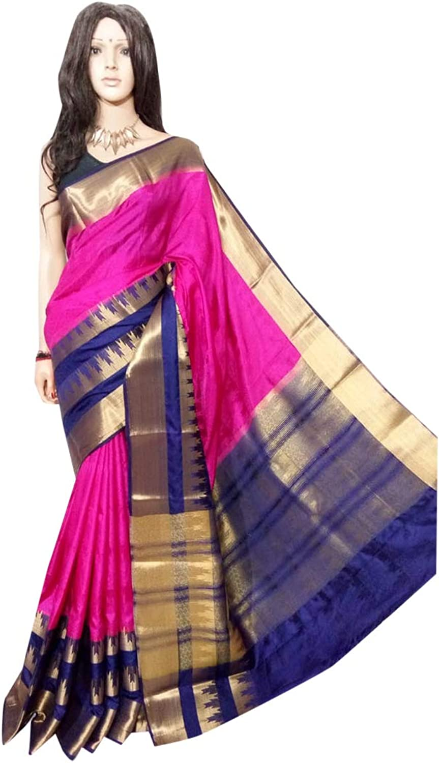 Indian Ethnic Big Border Silk Saree Evening Light To Wear Party Sari 121a
