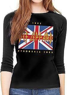 Def Leppard Union Jack 1983 Women Baseball T Shirt 3/4 Sleeve Raglan Tee Tops