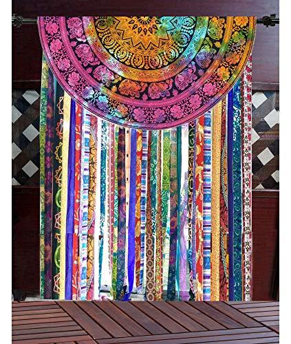 Marusthali Indische handgemachte Mandala Baumwolle Tür Fenster Vorhänge Boho Schabracken Hippie böhmischen Stange Tasche Fenster Behandlung Home Decor Art