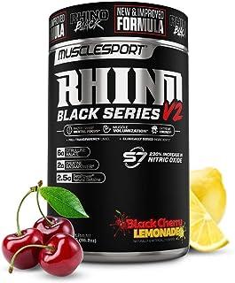 Rhino Black® Pre Workout V2 - Preworkout Powder Supplement for Men & Women - 460 Grams (Black Cherry Lemonade, 20 Servings)