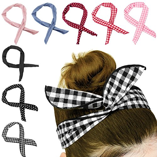 HBselect 8 Stück biegbares Haarband Bunny Ohr binden Bow Stirnband Twist Bow Wired Stirnbänder aus Baumwolle mit Polka Punkt oder Streifen für Damen