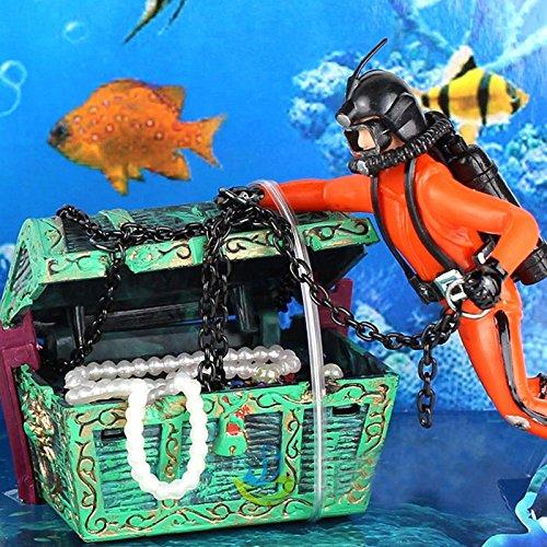 1Pcs Aquariumdecoratie Nieuwe Unieke Ontwerp Treasure Hunter Diver Action Figure Fish Tank Ornament Landschap Aquarium Decoratie Hulpmiddelen