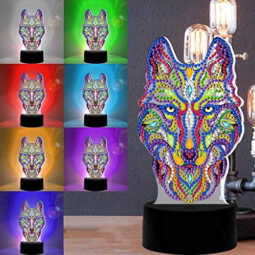 Lailongp DIY LED pintura de diamante luz nocturna de dibujos animados animales decoración lámpara lámpara