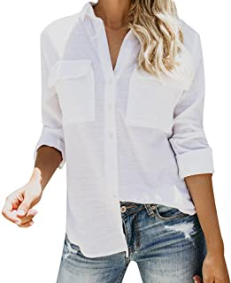49f6c65e KpopBaby Womens Tops Cotton Linen Casual Solid Long Sleeve Blouse Button  Down Shirts