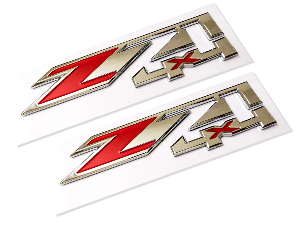 2pcs Z71 OFF Road Decals Emblems Badge 3D Replacement for GMC Chevy Silverado 1500 2500HD Sierra Suburban Colorado Chrome Red Emzscar