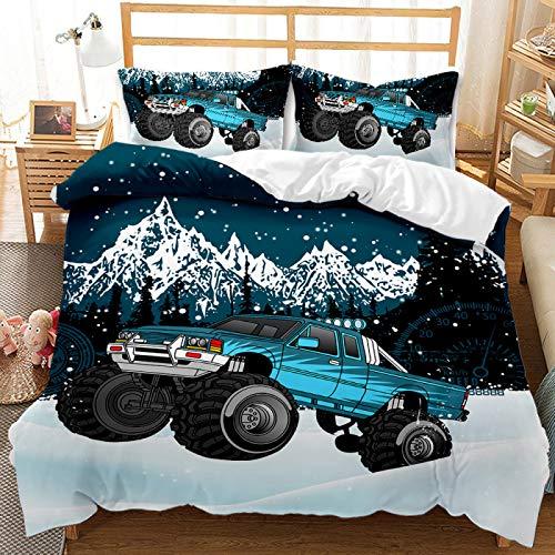 QXbecky Ropa de Cama Cool Todoterreno camioneta Pickup Funda de edredón Funda de Almohada 2~3 Juegos de Microfibra Suave Transpirable 240x220cm