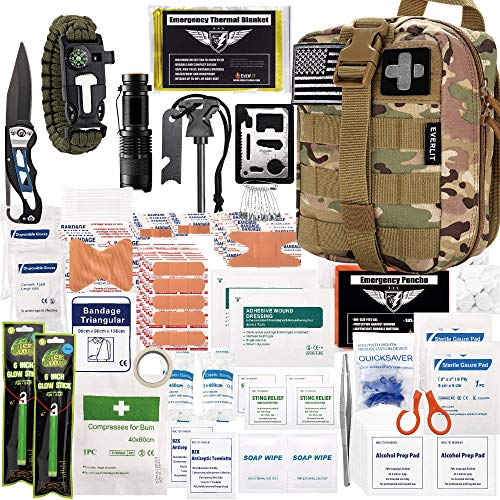 EVERLIT 250 Pieces Survival First Aid Kit IFAK Molle System Compatible...